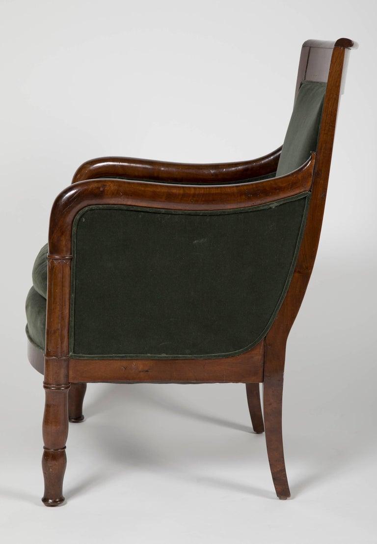French Directoire Bergère in Velvet Upholstered For Sale