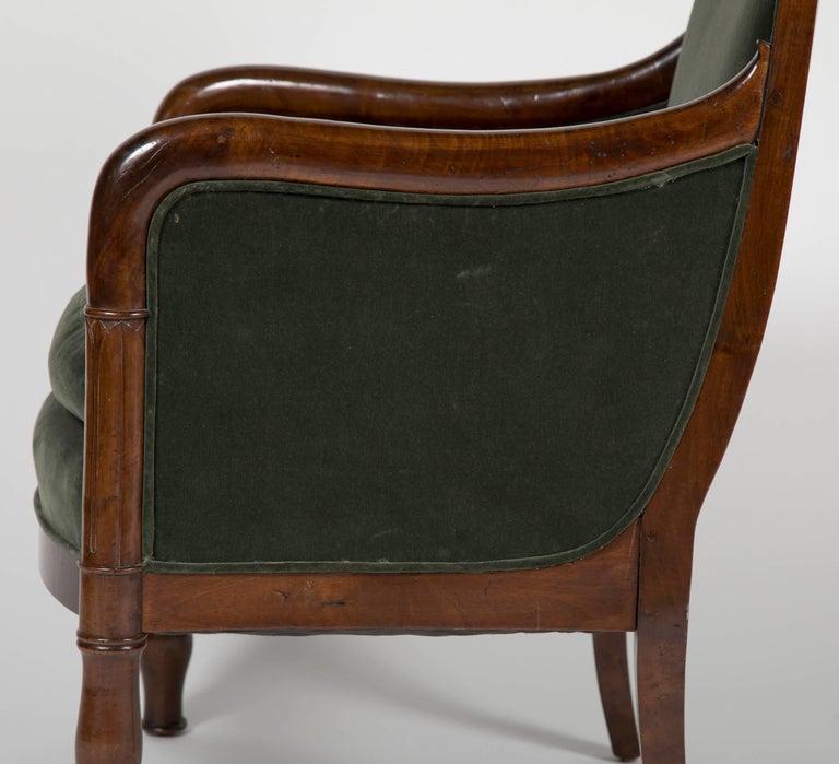 Directoire Bergère in Velvet Upholstered For Sale 2