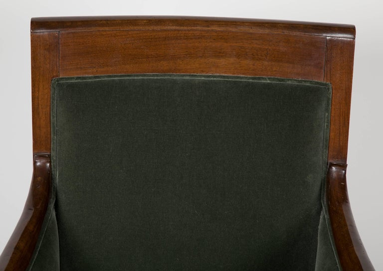 Mahogany Directoire Bergère in Velvet Upholstered For Sale