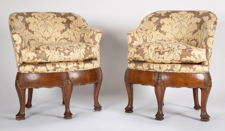 Unusual pair of late 19th century petite armchairs. Possibly Portuguese.