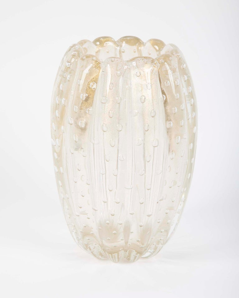 Gold Fluted And Ribbed Clear Glass Vase By Ercole Barovier For