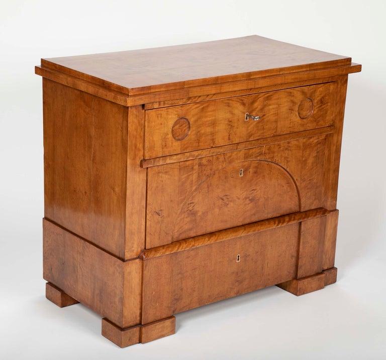 Scandinavian Period Biedermeier Birch Chest with Modern Appeal For Sale