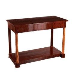 Biedermeier Mahogany and Fruitwood Console Table