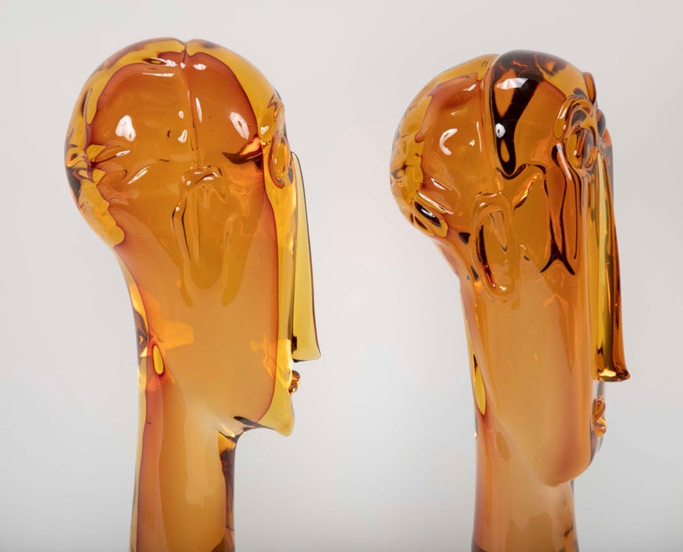 Homage to Amedeo Modigliani Pair of Murano Glass Figures  For Sale 5