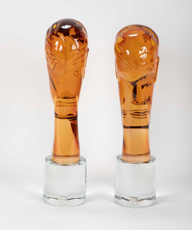 Homage to Amedeo Modigliani Pair of Murano Glass Figures  For Sale 1