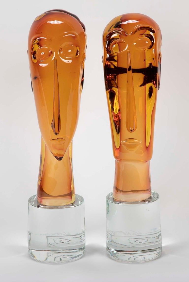 A pair of beautiful Murano blown glass figures designed by Walter Furlan. Glass blown by his son, Mario Furlan in homage to Amedeo Clemente Modigliani. Signed by all three,  circa 2016.