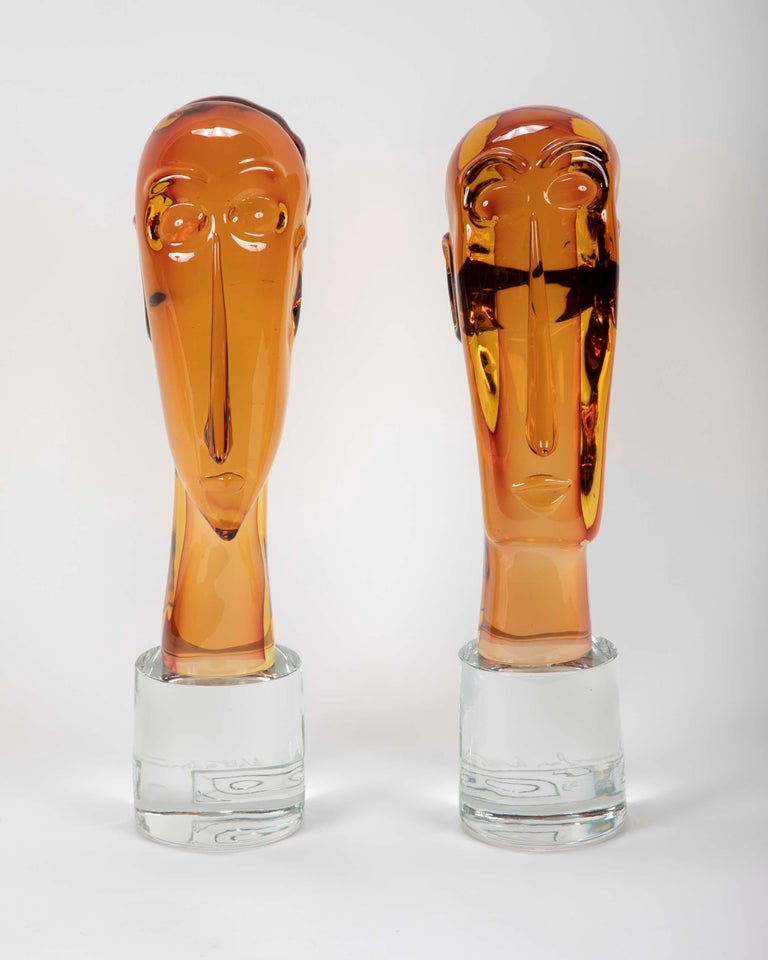 Italian Homage to Amedeo Modigliani Pair of Murano Glass Figures  For Sale