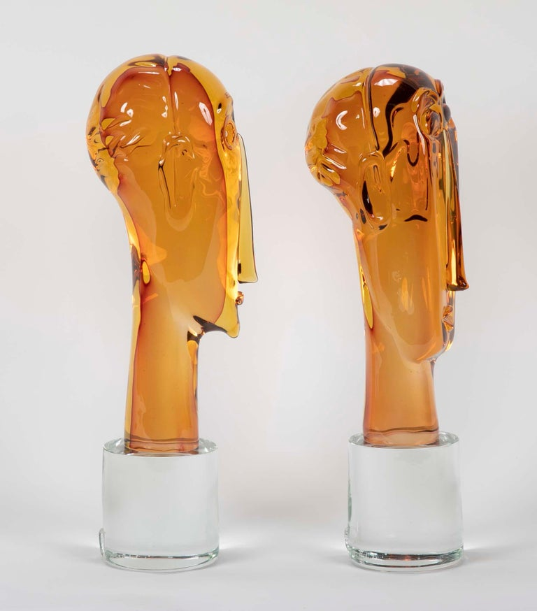 Homage to Amedeo Modigliani Pair of Murano Glass Figures  For Sale 4