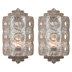 "Pair of Lalique ""Seville"" Frosted Glass Sconces"