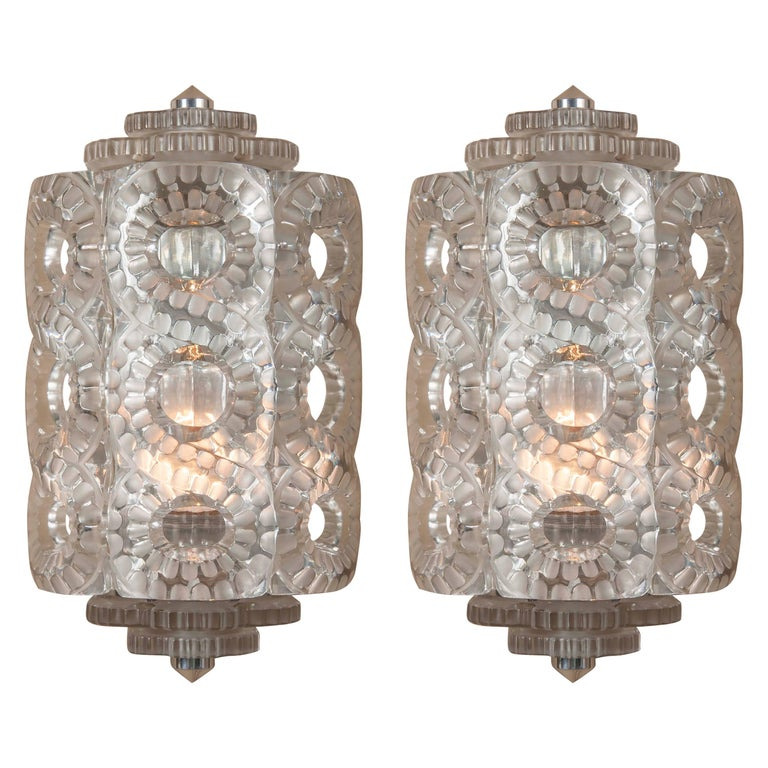 """Pair of Lalique """"Seville"""" Frosted Glass Sconces"""