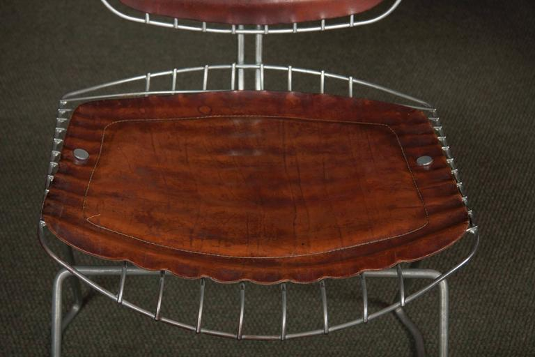 Leather Set of Eight Beaubourg Chairs Designed by Michel Cadestin and Georges Laurent For Sale