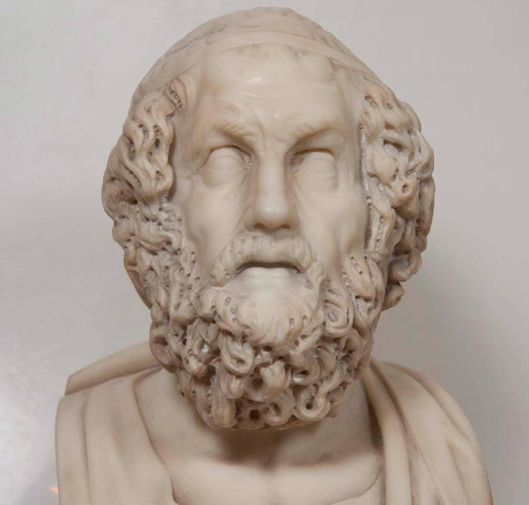 19th Century Solid Marble Bust of Homer For Sale