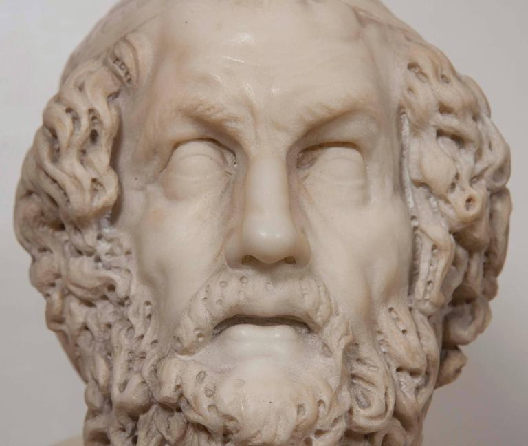 Solid Marble Bust of Homer For Sale 2