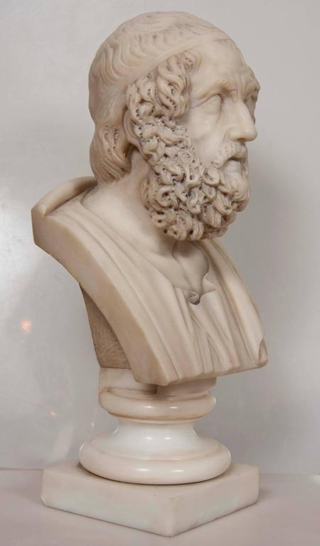 An antique solid marble bust of Homer based on 7-8th century BC model.