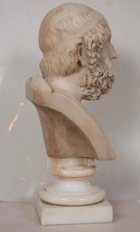 European Solid Marble Bust of Homer For Sale