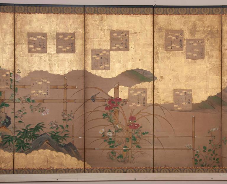 Edo Japanese Six-Panel Screen For Sale