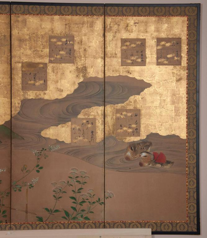 Painted Japanese Six-Panel Screen For Sale
