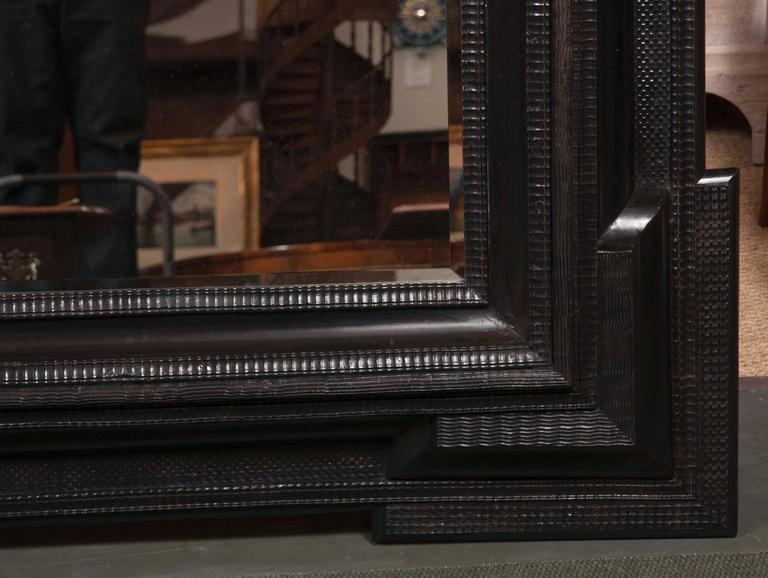 Monumental 19th Century Dutch Ebonized Black Crossetted Corner Framed Mirror In Good Condition For Sale In Stamford, CT