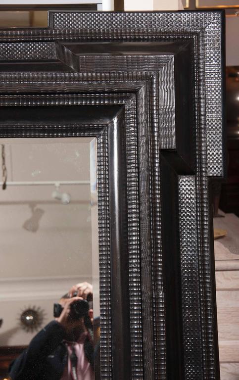 Monumental 19th Century Dutch Ebonized Black Crossetted Corner Framed Mirror For Sale 2