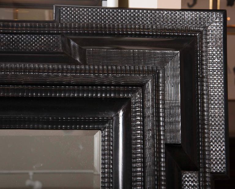 Monumental 19th Century Dutch Ebonized Black Crossetted Corner Framed Mirror For Sale 5