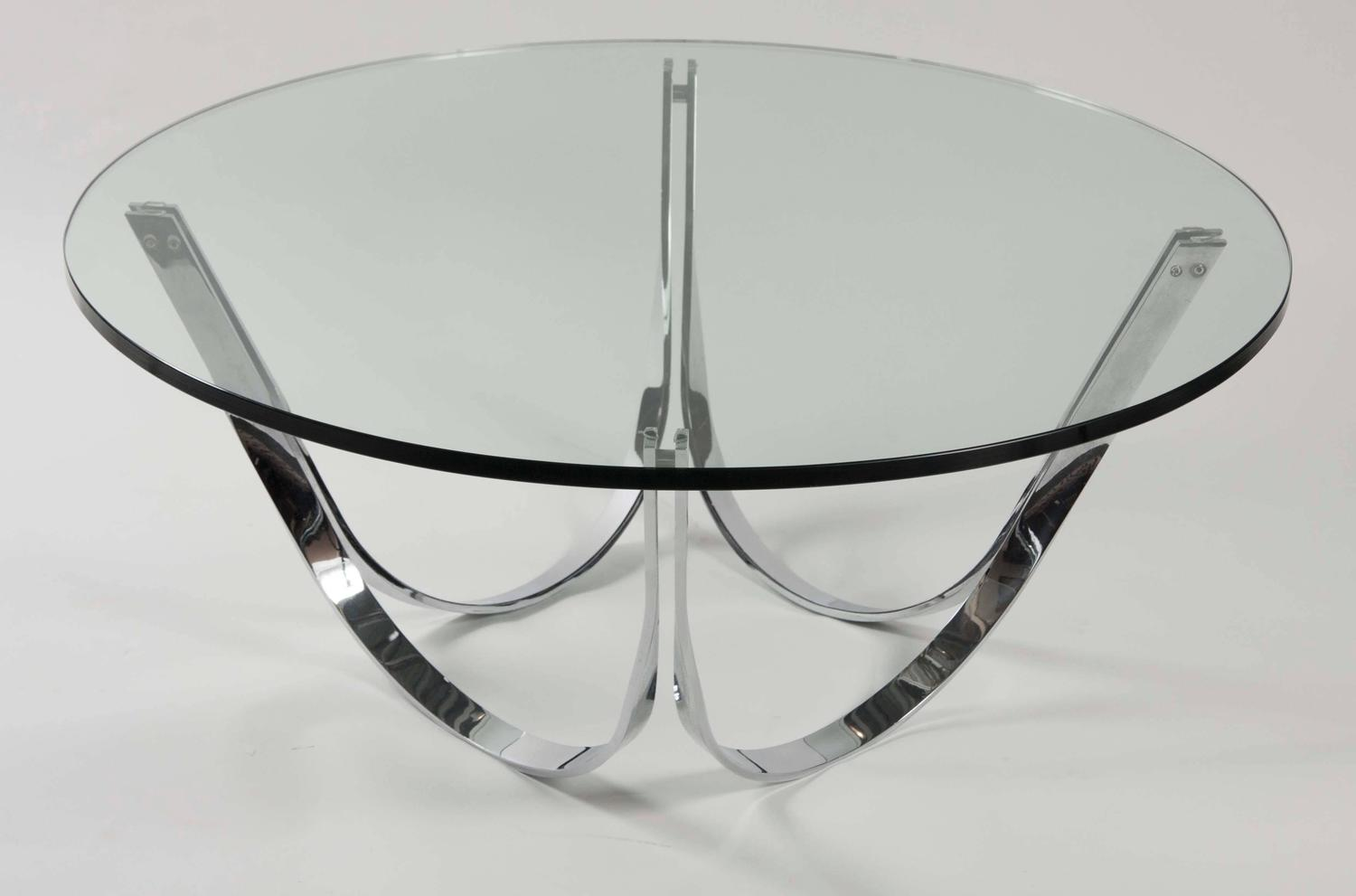 Round glass coffee table by roger sprunger for dunbar for for Round glass coffee tables for sale