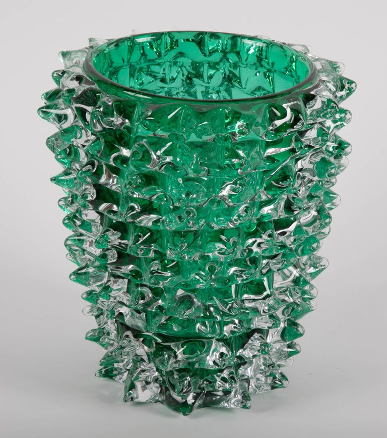 Mid-Century Modern Pair of Murano Green Iridescent Glass Vases Signed Pino Signoretto For Sale