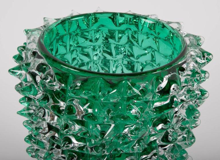 Italian Pair of Murano Green Iridescent Glass Vases Signed Pino Signoretto For Sale