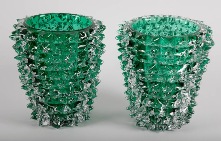 Pair of green iridescent glass vases signed Pino Signoretto produced on Murano.