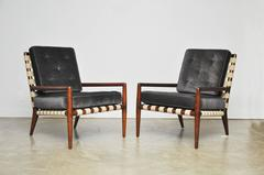 Pair of Strap Frame Lounge Chairs by T.H. Robsjohn-Gibbings