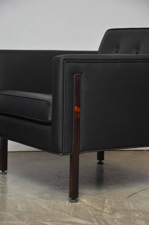 Harvey Probber Style Rosewood and Black Leather Club Chairs For Sale 3