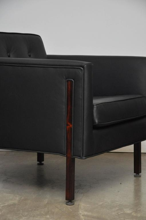 Harvey Probber Style Rosewood and Black Leather Club Chairs For Sale 4