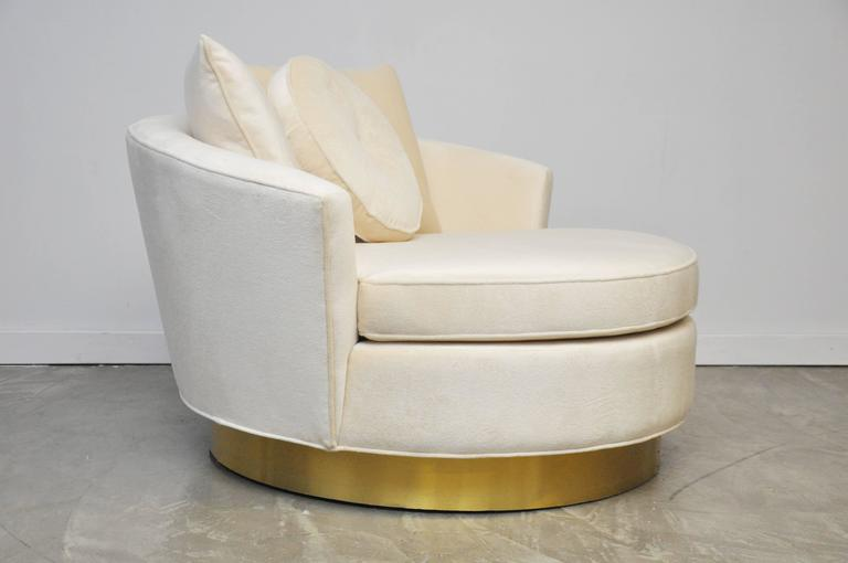 Milo Baughman Brass Base Oversized Chaise Chair in White Mohair 2