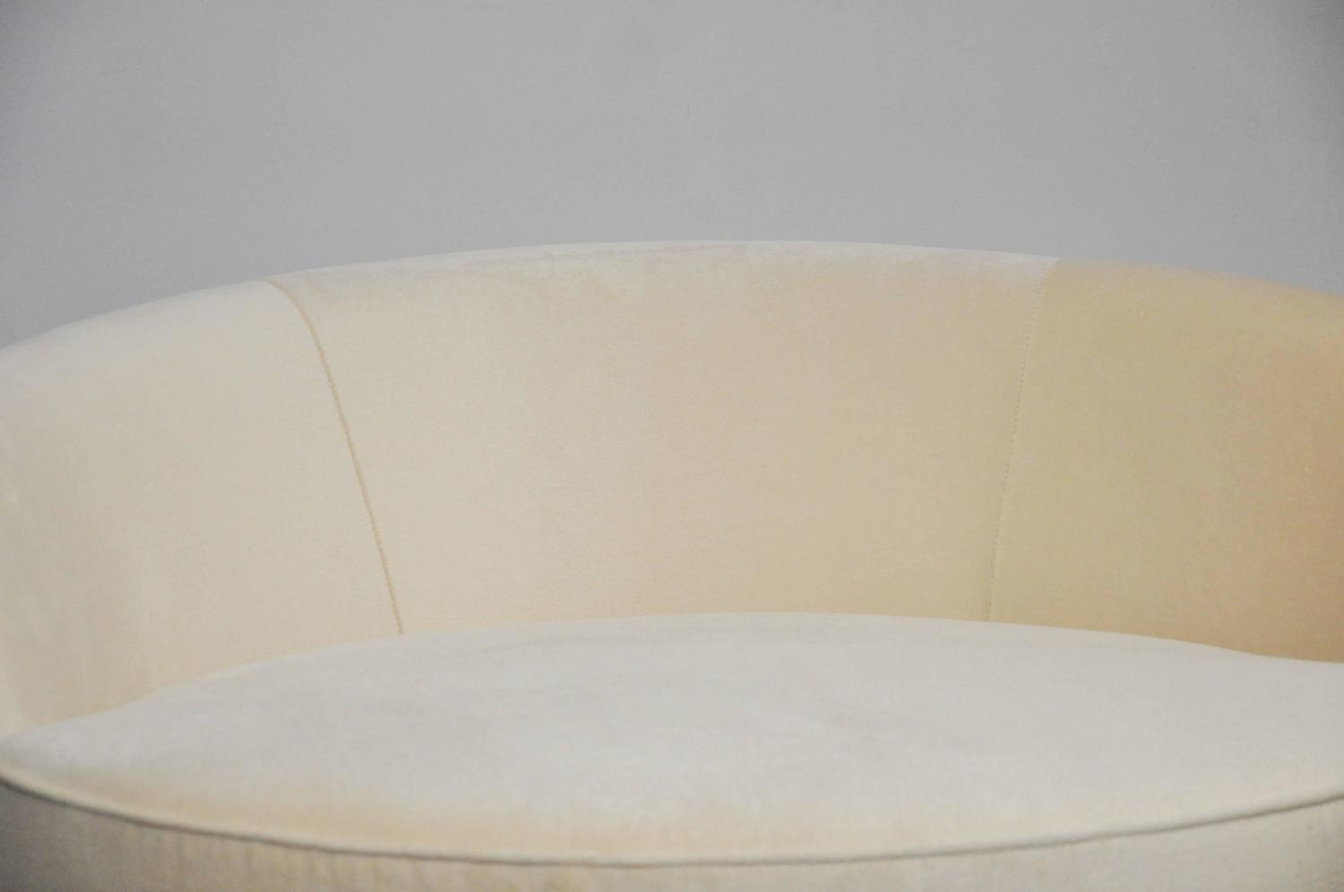 Milo Baughman Brass Base Oversized Chaise Chair In White Mohair For