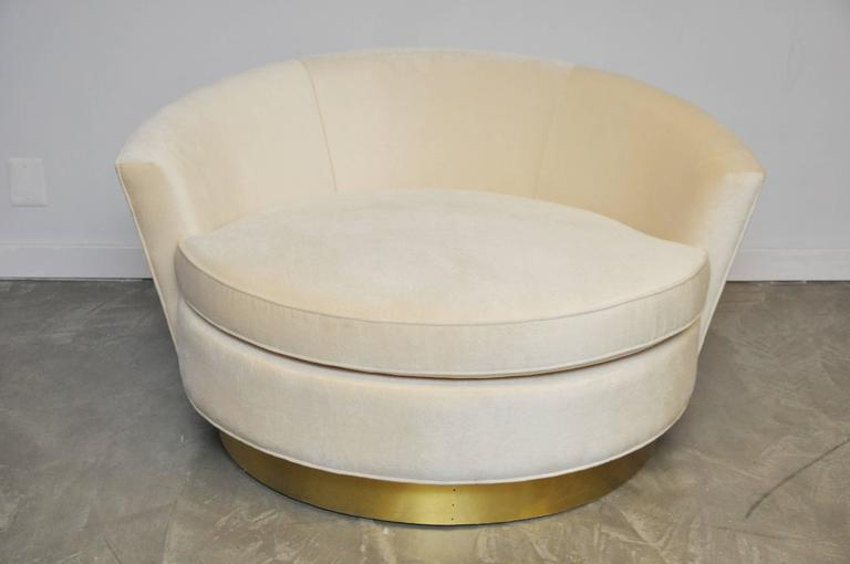 Milo Baughman Brass Base Oversized Chaise Chair in White Mohair 5