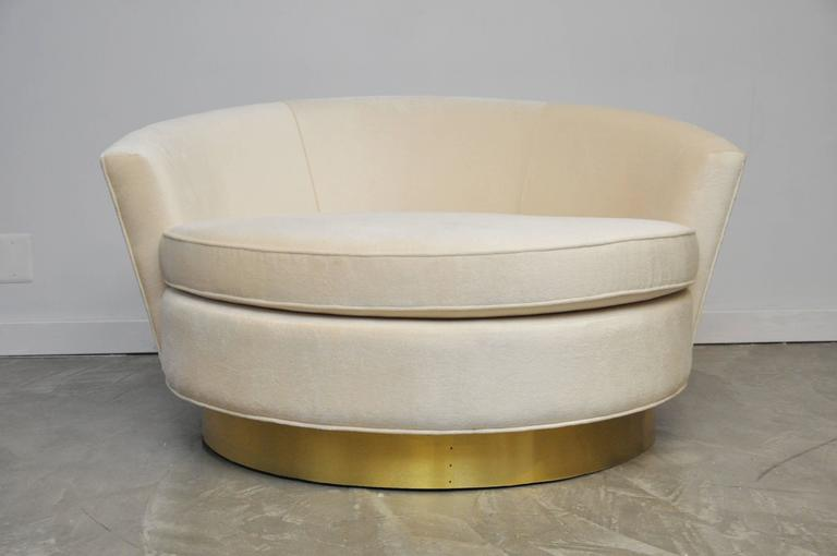 Milo Baughman Brass Base Oversized Chaise Chair in White Mohair 6