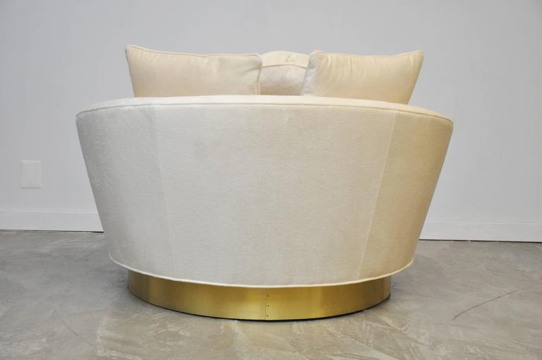 Milo Baughman Brass Base Oversized Chaise Chair in White Mohair 8