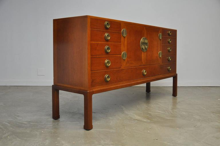 American Walnut and Brass Sideboard by Edward Wormley for Dunbar For Sale