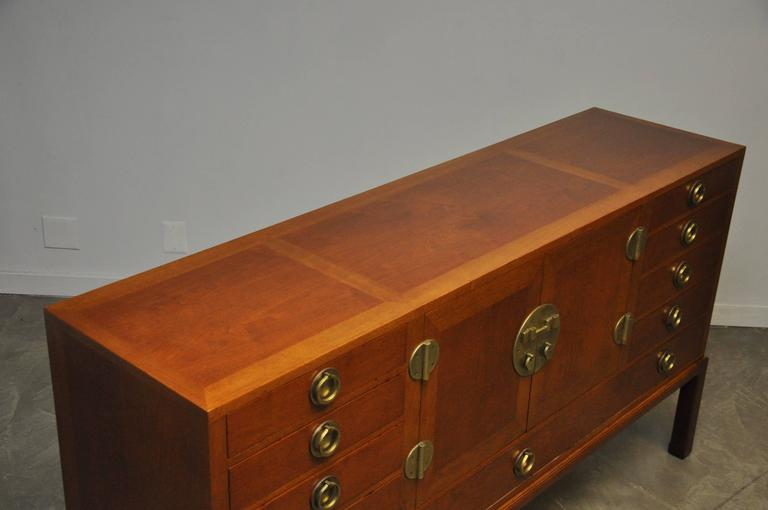 Walnut and Brass Sideboard by Edward Wormley for Dunbar In Excellent Condition For Sale In Chicago, IL