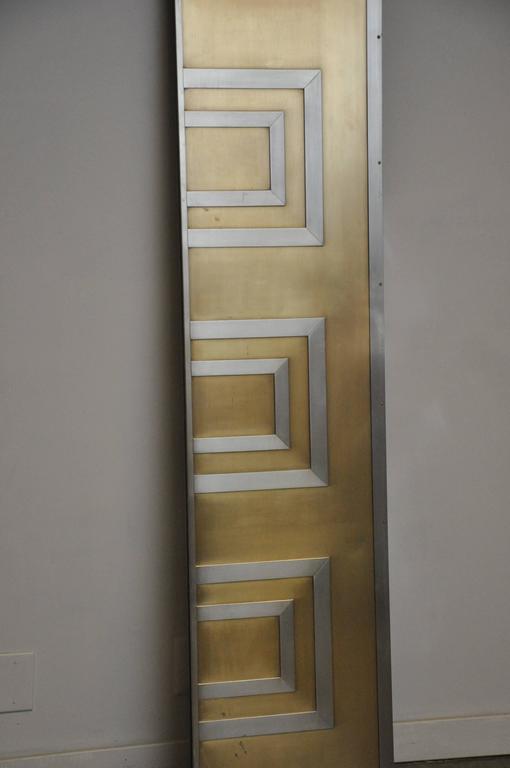 Pair of bronze and steel entry door frames. One door attaches to each side of door(s), Vintage, 1970.