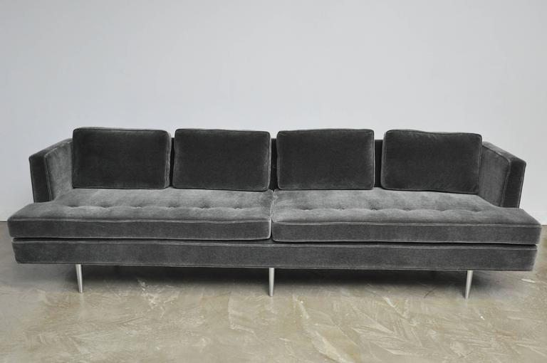 Classic Dunbar sofa designed by Edward Wormley, circa 1950. Fully restored, newly upholstered in charcoal mohair over original nickel legs.