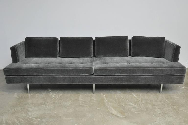 Classic Dunbar Sofa by Edward Wormley in Charcoal Mohair In Excellent Condition For Sale In Chicago, IL
