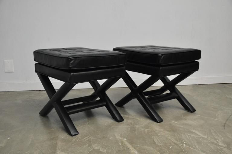 Black Leather X-Base Stools 3