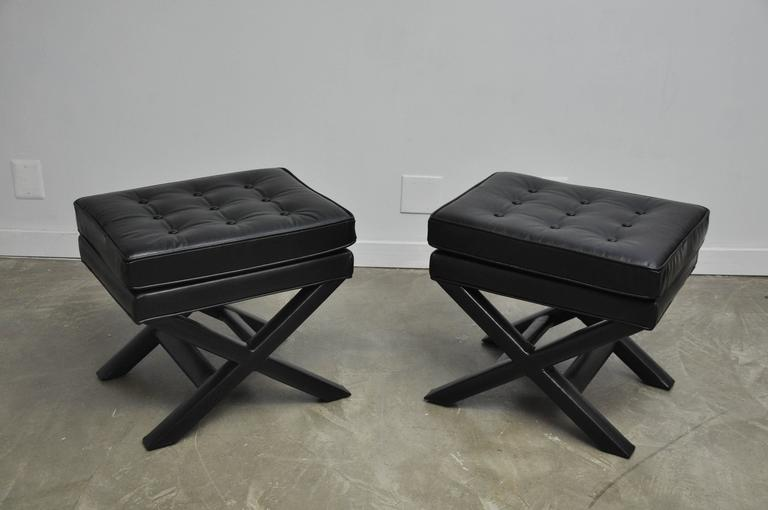 Black Leather X-Base Stools 2