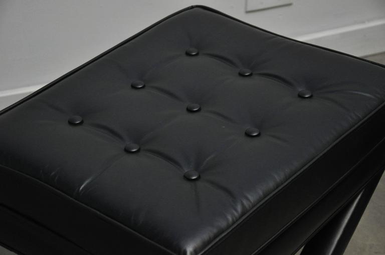 Black Leather X-Base Stools 4