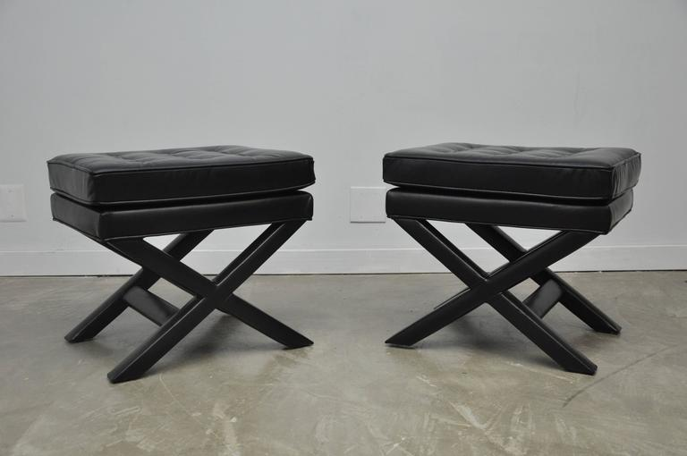 Black Leather X-Base Stools 5