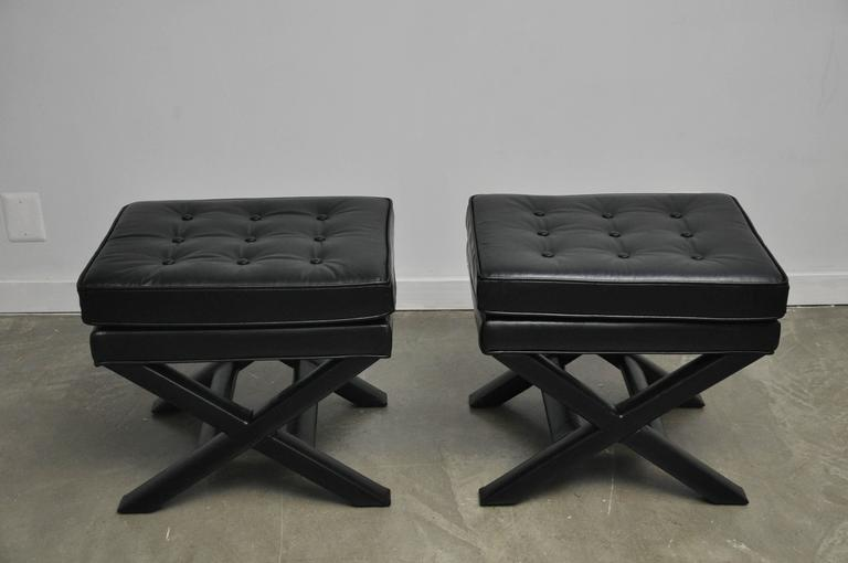 Black Leather X-Base Stools 6