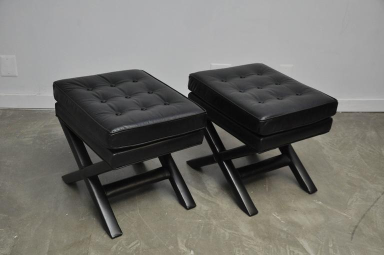 Black Leather X-Base Stools 7