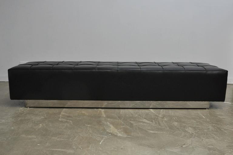 Black Leather Bench on Stainless Steel Base, circa 1970 2