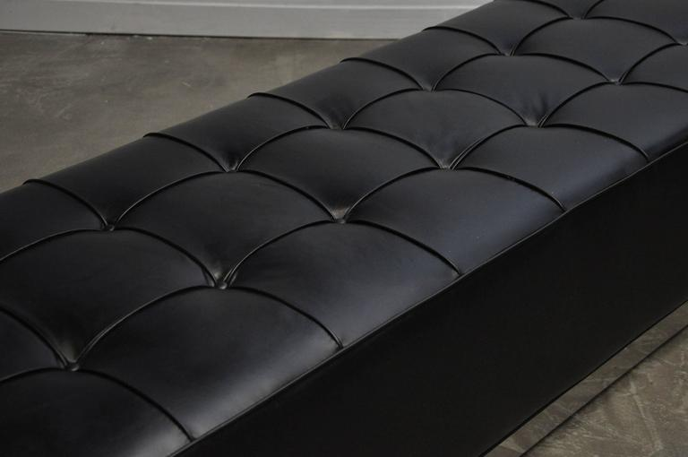 Black Leather Bench on Stainless Steel Base, circa 1970 4