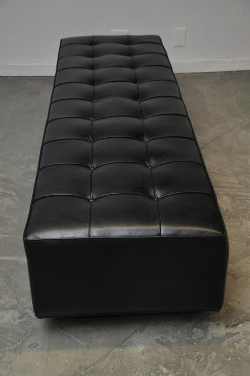 Black Leather Bench on Stainless Steel Base, circa 1970 6